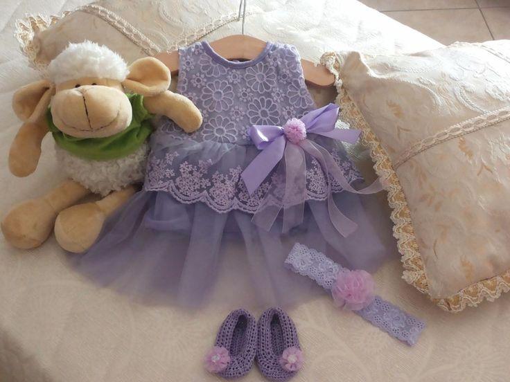 Vestitino da cerimonia neonata con fascia e scarpette