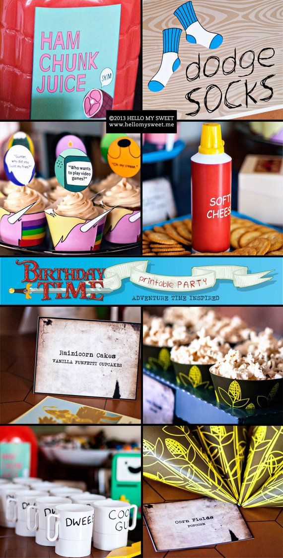 Adventure Time Party Printable Birthday | www.hellomysweet.me I've pinned it to win it from @Hello My Sweet