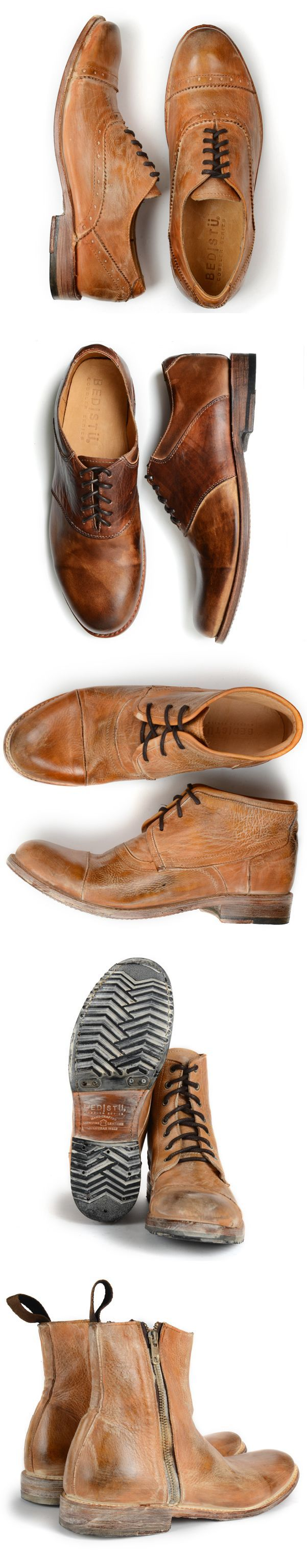 Mens oxfords, chukkas, and boots in Tan Rustic finish.