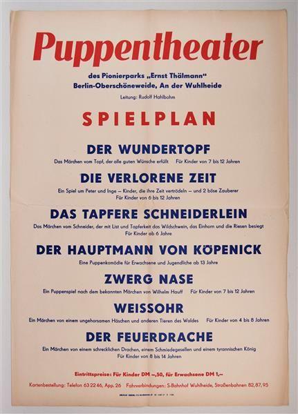"""Spielplan. Puppentheater des Pionierparks """"Ernst Thälmann"""" Berlin-Oberschöneweide. Plakat"""