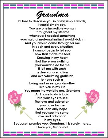A poem for an awesome Grandma!