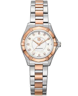TAG Heuer Watch, Women's Swiss Aquaracer Lady Diamond Accent Two-Tone Stainless Steel Bracelet 27mm WAP1451.BD0837 - TAG Heuer - Jewelry & W...