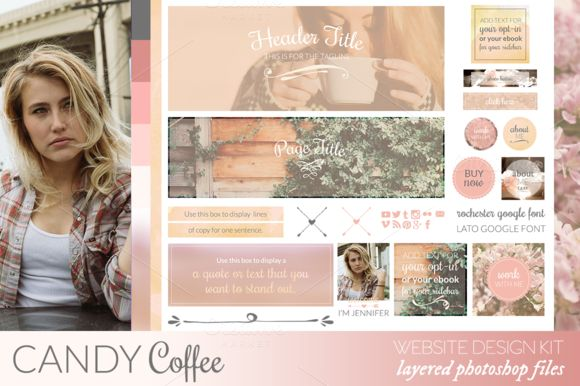 Candy Coffee Website/Blog Kit by Coral Antler Creative on Creative Market