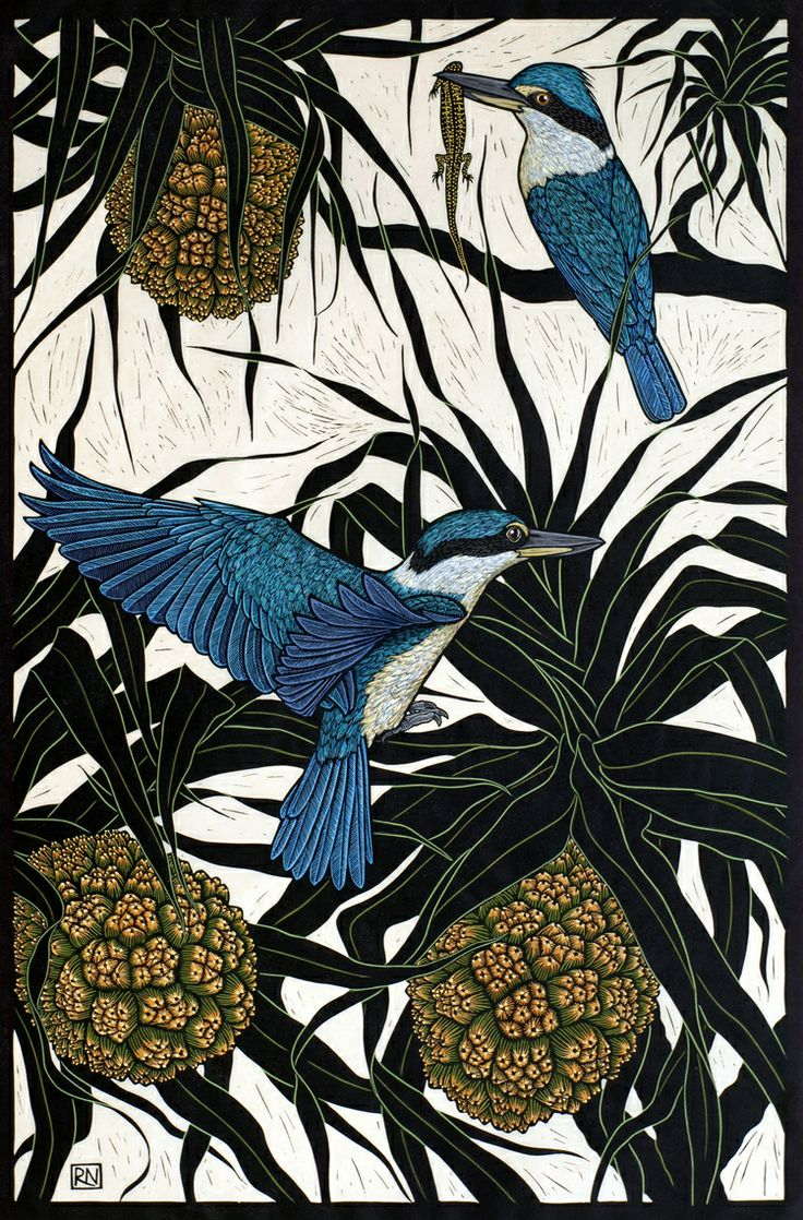 Rachel Newling, Sacred Kingfisher, hand colored linocut on handmade Japanese paper