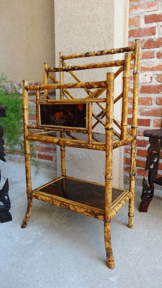 Antique Victorian English Tortoise Bamboo Book MUSIC Rack Stand Canterbury  Table #Victorian