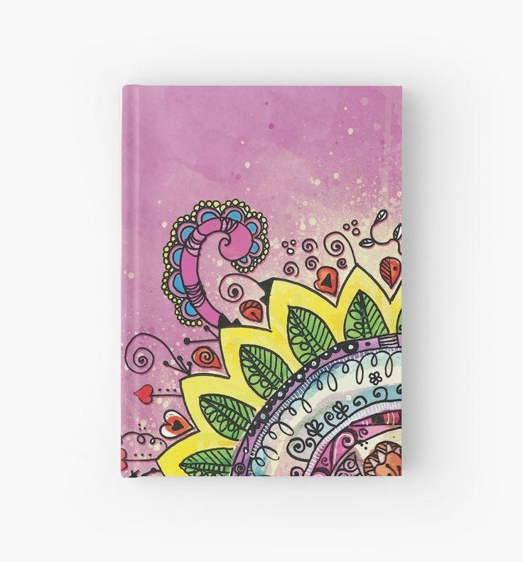 Mandala Garabato, divertido y alegre mandala con un fondo lila • Also buy this artwork on stationery, phone cases, home decor y more. #Bulletjournal #journal #dibujandocondelein