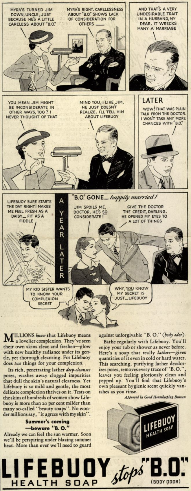 """Lever Brothers Company's Lifebuoy Health Soap – Myra's Turned Jim Down, Uncle, Just Because He's a Little Careless About """"B.O"""" (1935)"""
