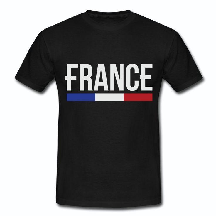 Tee Shirt Noir France bleu blanc rouge France & Drapeau Français