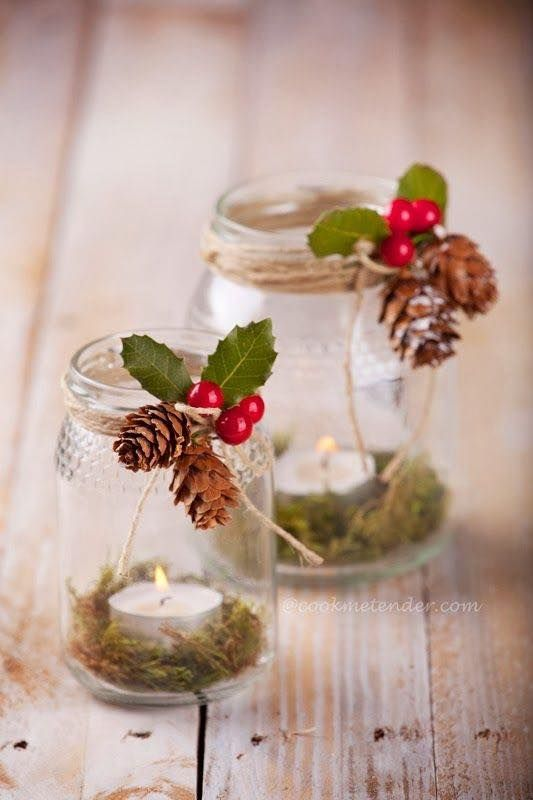 tealights and moss in a jar.