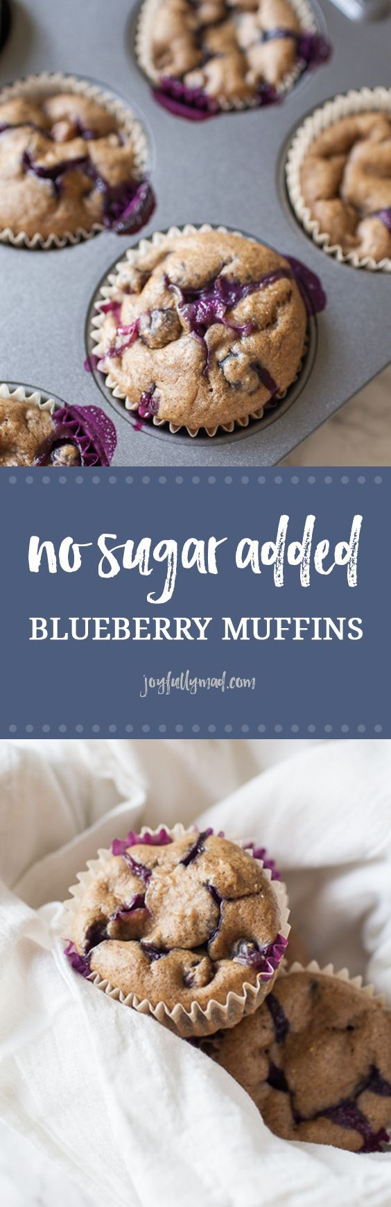 Looking for a healthy treat that can be served to adults and children alike? These healthy no sugar added blueberry muffins are the perfect treat because they are sweetened naturally with dates, inste