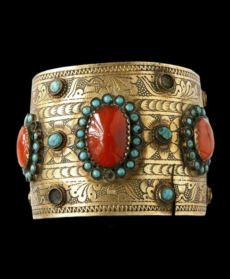 Tatarstan - Kazan | Bracelet; silver, gilt silver, carnelian and turquoise | 19th century