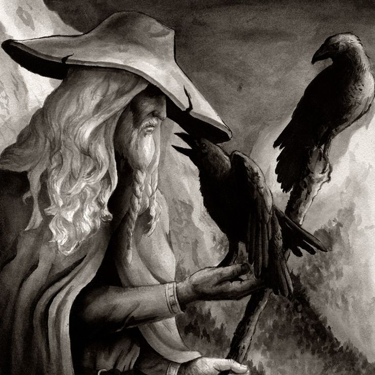 §§§ . Norse god Odin the Wanderer, with his ravens Huginn (Thought) and Muninn (Memory)