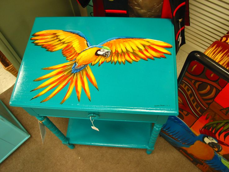 Hand Painted Table Tropical Decor Parrot On Turquoise, Macaw, Jimmy Buffet  Style, Available