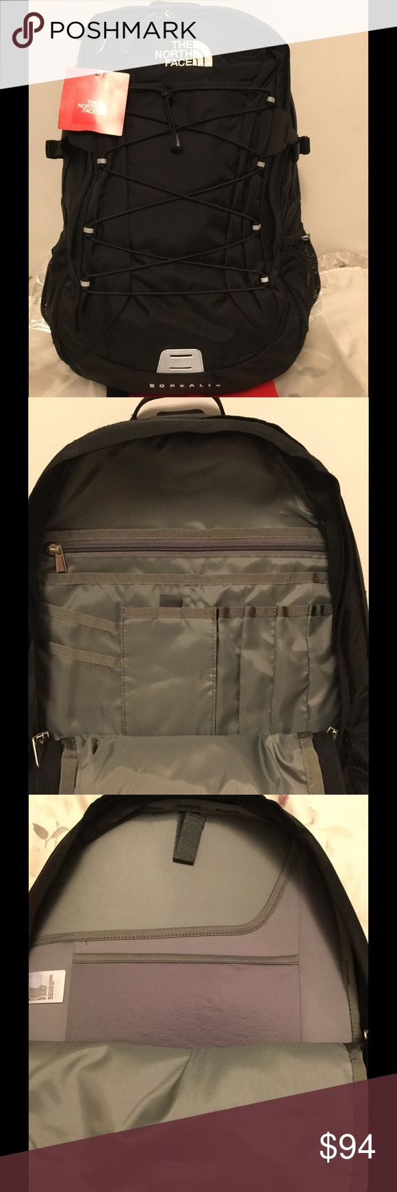NWT The North Face Men's Borealis backpack Brand new with tag, The North Face Men's Borealis backpack in black. Has laptop an tablet sleeves. Two mesh water bottle pockets (one on each side). Price is firm. No trades. The North Face Bags Backpacks