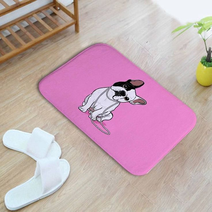 Frenchie Pink Bath Mat