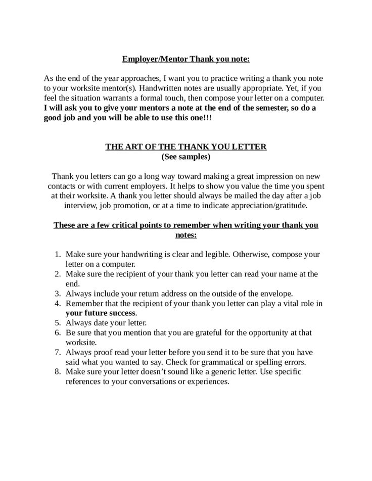 Doc Thank You Letter Mentor How Write Thanks  Home Design Idea