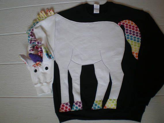 Unicorn sweatshirt unicorn shirt. Rainbow trim mystical
