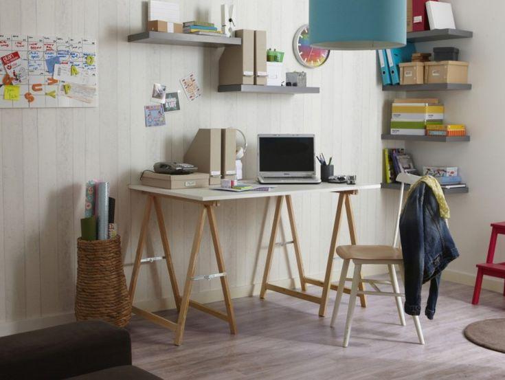 39 id es d co de tr teaux pour cr er une table ou un bureau bureaux d co et tables. Black Bedroom Furniture Sets. Home Design Ideas