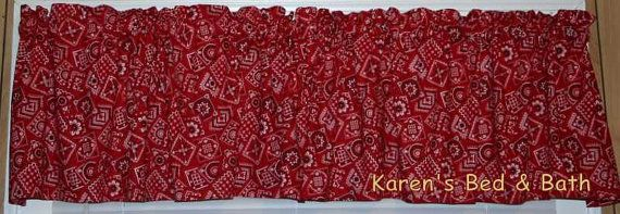 Western Cowboy Cowgirl Red Bandana Curtain Valance NEW