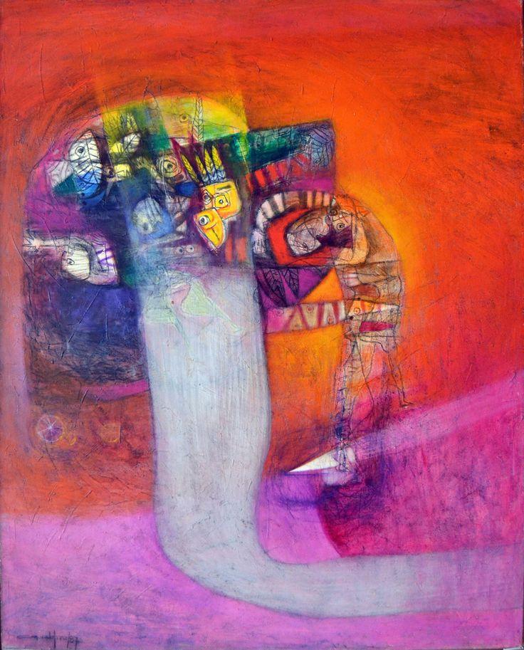 """Antonio Guadalupe (1941 -     ) - Pintor de origem Dominicana, foca o seu trabalho na investigação dos valores culturais da identidade Dominicana.  """"Meta especial Indígena"""", de 1987 – Nesta obra o artista pretende capturar as diversas manifestações da mescla de culturas: africana, indígena e hispânica."""