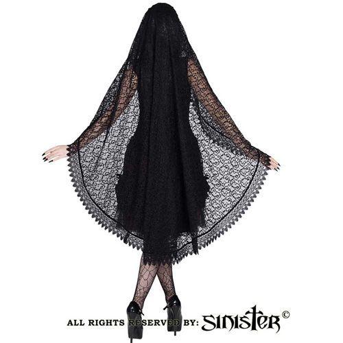 Mantilla sluier van Siciliaans kant zwart - Victoriaans Gothic Halloween - Sinister