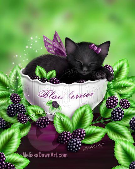 Blackberry Kitten by Melissa Dawn Art