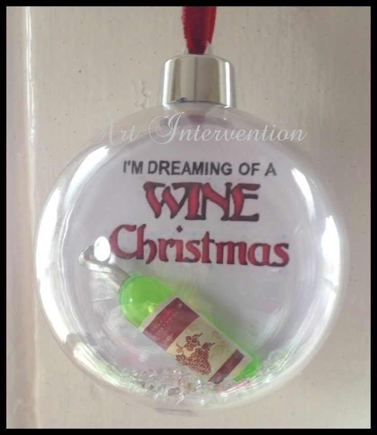'Im dreaming of a wine Christmas', clear diamantés,  round clear plastic Christmas/Xmas bauble decoration . -  Wine, Alternative, Funny, humour. More can be found here: https://www.facebook.com/GeekCreatureCreations