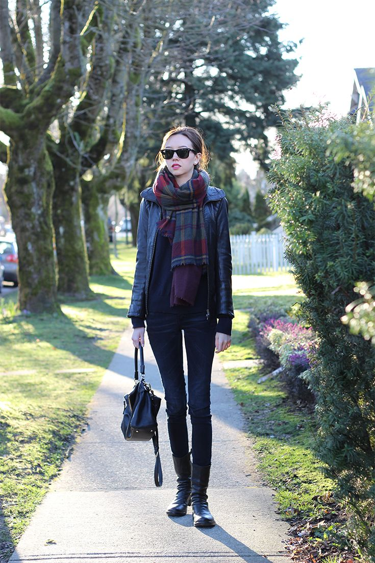 Cold spring #outfit: Mackage leather jacket, Rayban wayfarers, Zara Scarf, Acne Jeans, Fiorentini & Baker Boots - emiliechevrier.com
