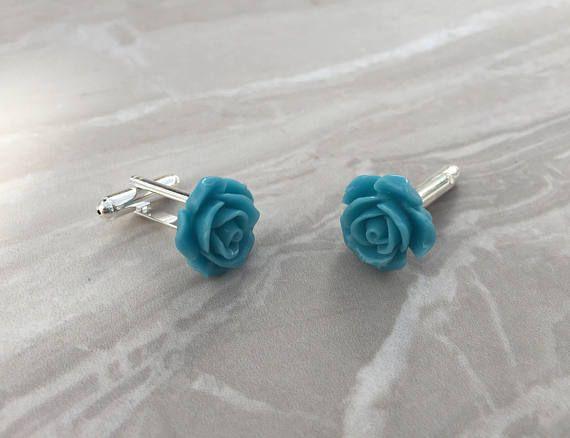 Rose cufflinks blue cufflinks fashion cufflinks groom's