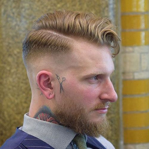 Skin Fade with Side Part and Beard
