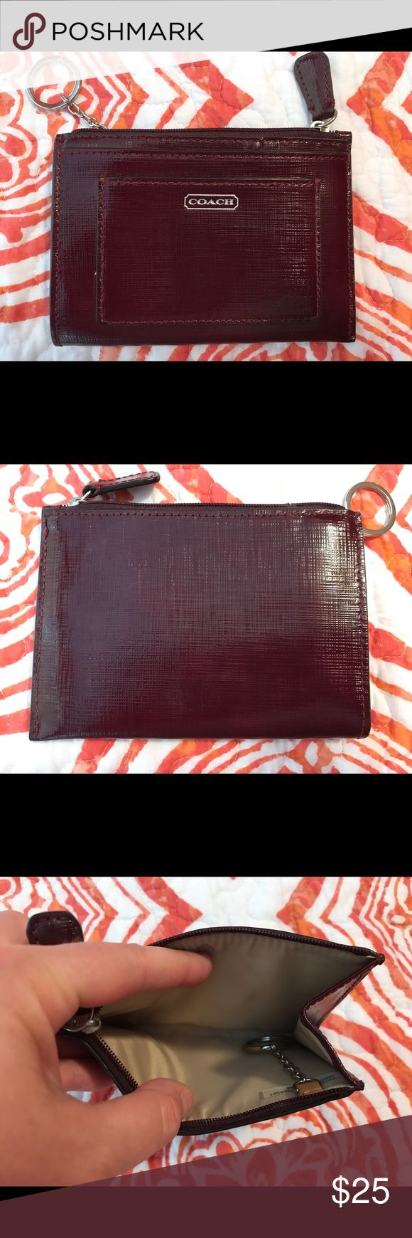 Coach ID/Money Case With Keyring - New Beautiful Merlot colored ID/Money case - never used! Great addition to your handbag! Coach Accessories Key & Card Holders
