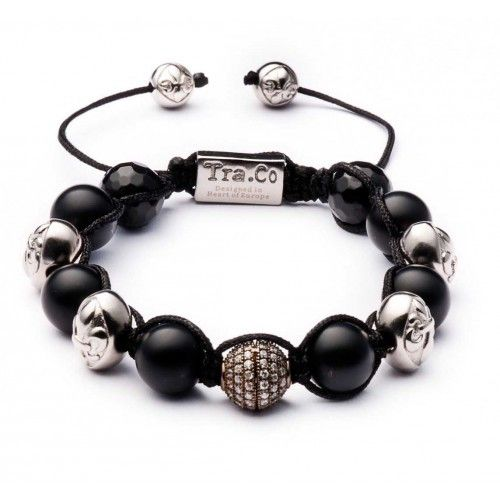 Matte Black Agate & Faceted Obsidian & Zircon Ball & Silver plating