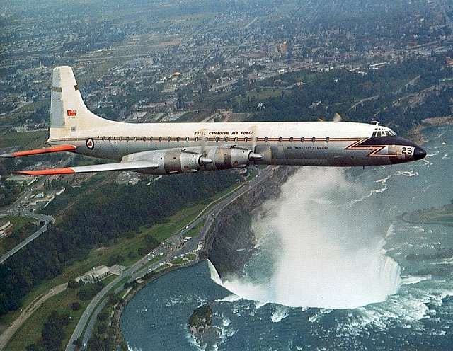 Canadair CL-44 (CC-106 Yukon) 58 years ago, Canadian turboprop airliner and cargo aircraft based on Bristol Britannia. A small number of the aircraft were produced for the RCAF as the CC-106 Yukon. On the cargo aircraft variant CL-44D4 the entire tail section hinged.