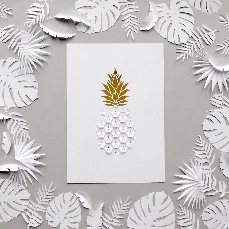Kirigami Cut and Folded Pineapple Paper Cut with Tropical Paper Leaves | Designed by Sarah Matthews. Blogged: www.allthingspaper.net/2016/02/paper-props-and-papercut-h...