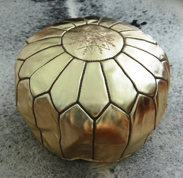 moroccan leather pouffe.