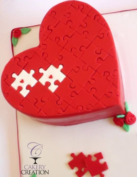 Heart Puzzle cake - by Liz @ Cakery Creation  www.cakerycreation.com