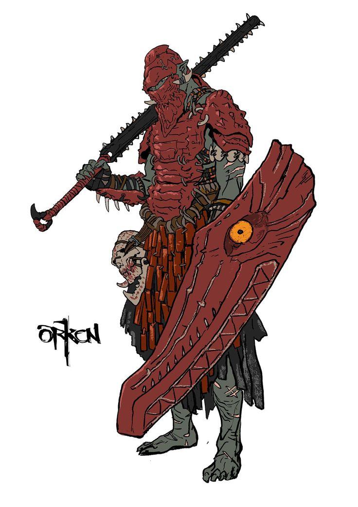 Scon:el tiene una espada que destrozaría un cráneo de un golpe su escudo puede lanzar llamaradas y su armadura tiene las escamas de un dragón :)