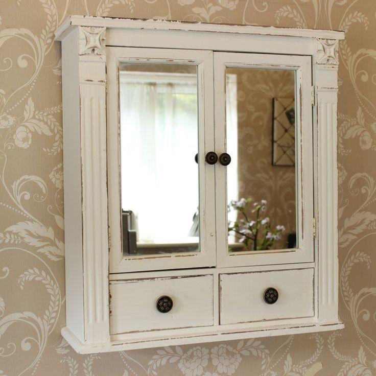 White Mirrored Cupboard With Drawers Distressed FurnitureShabby Chic FurnitureBedroom FurnitureBathroom