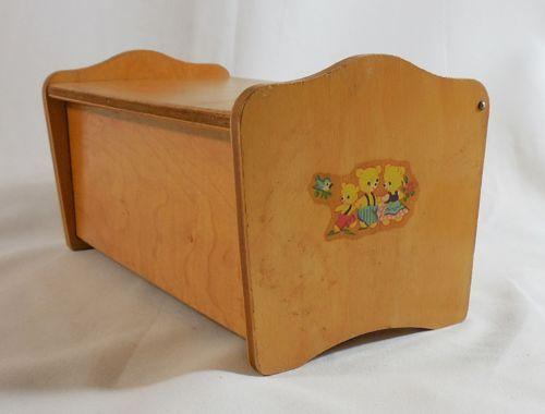 Vintage 1950u0027s Strombecker Wood Toy Chest W/ Bear Decals, Antique Doll  Furniture
