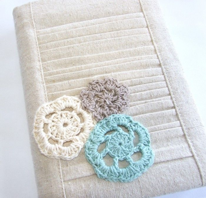 Hemp Pleated Reusable A6 Visual Journal Slip Cover with Front Pocket Doily Trio