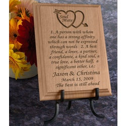 Personalized Soul Mate Definition Wooden Plaque - wood for 5 yr anniversary