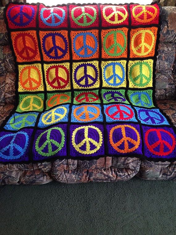 Crochet peace sign afghan by CrochetToDisneyLand on Etsy ...