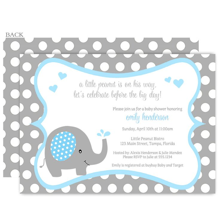 42 best Baby Shower Elephant Invitations images on Pinterest | Baby ...