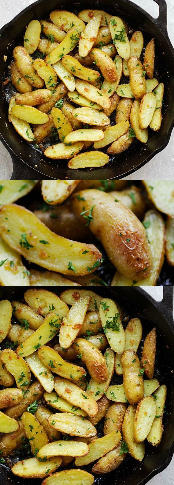 Garlic Butter Roasted Fingerling Potatoes – easiest and best roasted potatoes ever with only 5 ingredients and takes 30 mins from prep to dinner table. So good   rasamalaysia.com