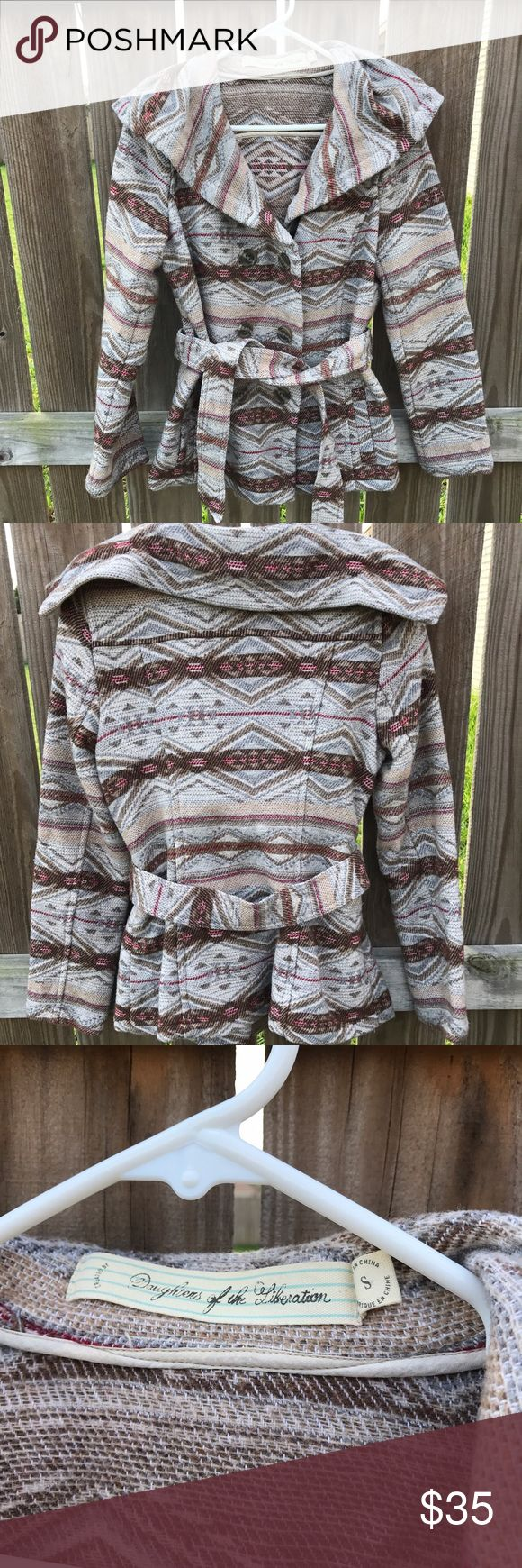 Anthropologie Daughters of the Liberation coat Super cute coat from anthropologie brand: daughters of the liberation dry clean only! Size small come with its belt! Very cozy in good condition Anthropologie Jackets & Coats Pea Coats