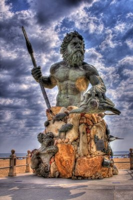 Statue of Neptune, Virginia Beach Boardwalk - funny Ive never seen it look like this (insert Michelle's sarcastic tone) :)