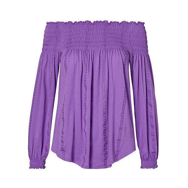 Ralph Lauren Lauren Smocked Off-The-Shoulder Top ($80) ❤ liked on Polyvore featuring tops, long sleeve tops, purple off the shoulder top, purple top, ralph lauren and ralph lauren tops