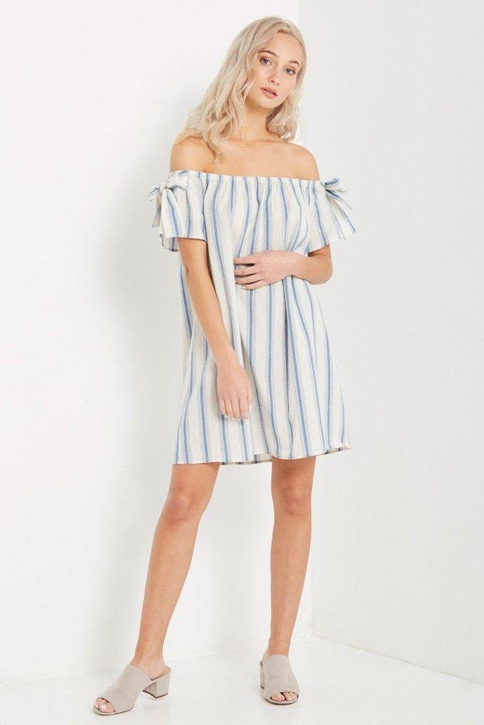 Off White Lena Off the Shoulder Shift Dress – Poshsquare