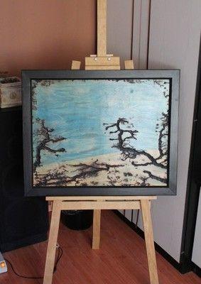 Obraz wypalany w drewnie drewno rama