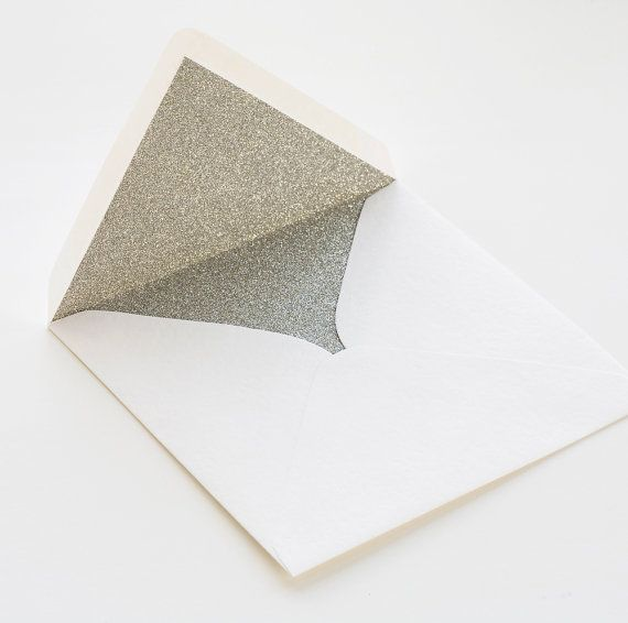 Silver glitter lined envelopes - Sparkly silver envelopes for silver wedding, weddings, christmas or birthday. on Etsy, $1.00
